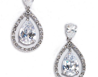 Elegant Pear Shaped Bridal Earrings, Cubic Zirconia Drop Bridal Earrings, Bridal Jewelry, Wedding Jewelry, Bridesmaids Jewelry, Prom Jewelry