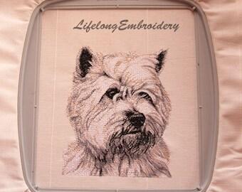 Digital PhotoStitch Embroidery Dog West Highland White Terrier Design.  Digital Machine Embroidery Dog Terrier Design.