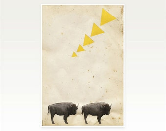 Buffalo Art Print, Book Page Art, Geometric, Triangle Shapes, Collage Print, Animal Art, Black and Yellow - Buffalo in the Wilderness