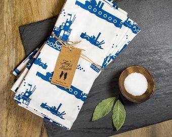 Cloth Napkins - Set of 4 - Blue Tugboat - GOTS Certified - Organic Dinner Napkins - Table Napkins - Tugboats - Vintage Steamers