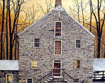 Sunset Painting - Giclee Print - Winter Painting - Landscape Painting - Fine Art Print - Realism Painting - Snow Painting - Stone Building
