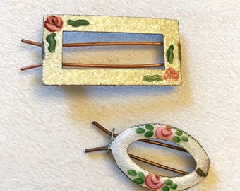 Vintage Pair of Guilloche Metal Barrettes with Roses