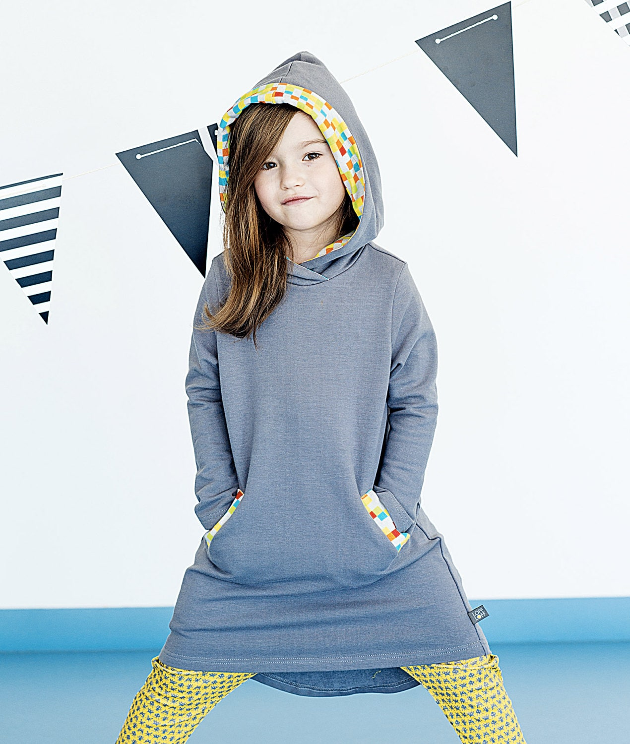 Girls dress BRAVE HOOD with pockets hooded gray grey &