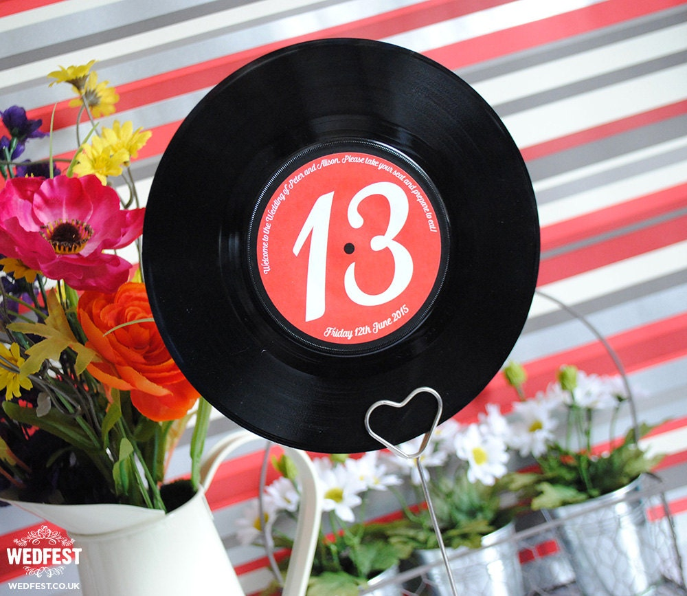 7 Vinyl Record Wedding Table Names / Table Numbers x 10