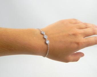 Silver cz crystal bracelet, cubic zirconia crystal bracelet, three crystals bracelet, silver plated bracelet, simple bracelet, everyday 406