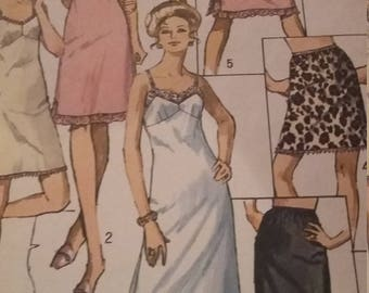 Misses' Slip and Half  in Three Lengths, Size 12, All 6 Pieces, 60s Simplicity Sewing Pattern 9115