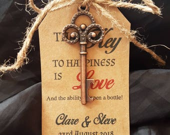 Wedding Favour 10 x Vintage Key Beer Bottle Opener Decor & personalised label - Key to happiness is Love