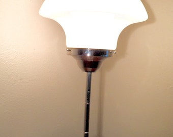 Vintage 1920s XL Mushroom Glass Shade Table Lamp With Chrome Base  UNIQUE!