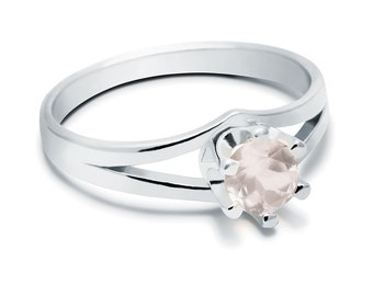 Rose Quartz Ring, 925 Sterling Silver. color pink, weight 2.2g, #44438