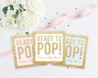 Ready To Pop Custom Baby Shower Faux Gold Glitter Favor Tag, Popcorn Tag, Baby Shower Tag, Baby Shower Sticker, 2 Inch Stickers