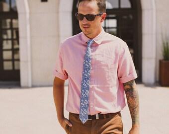 Men's Necktie, chambray, blue, denim, swiss dot, polka dot, skinny tie, cotton, wedding, groomsmen, indigo, oxford, chambray tie, custom tie