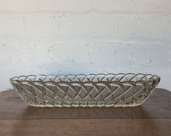Pressed Glass Basketweave Bowl