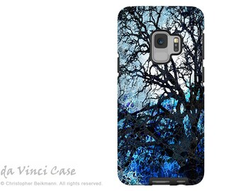 Blue Abstract Tree Case for Samsung Galaxy S9 - Artistic S 9 Case with Art - Moonlit Night - Dual Layer Case by Da Vinci Case