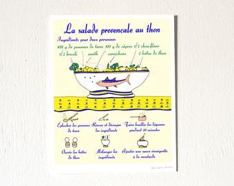 Food Poster Illustration 8x10 'La salade provençale au thon' French Kitchen yellow