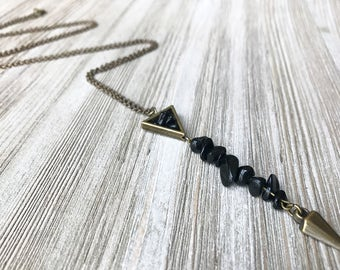 Black Obsidian Spike Necklace // Long Necklace // Pendant Necklace // Tribal Necklace // Edgy Necklace // Unique Long Necklace // Handmade