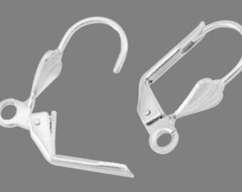 1 pair of sleeper earrings in silver plated brass