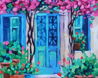 Colorful Oil painting Original House with Flowers painting cheerful Canvas Wall art Rebecca Beal