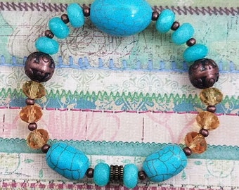 Turquoise with Accents of Gold & Bronze Bracelet