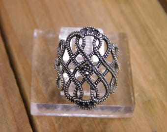 Sterling Silver Marqasite Ring Size 7.75