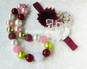Photo Prop Baby Girl 1st Birthday Outfit Bubblegum Chunky Necklace Flower Headband Pink Lime Port Toddler Necklace Bow Birthday Necklace