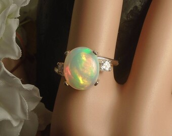 Spectacular Sky Blue Ethiopian Fire Opal 2 Birthstone Accent Gems Ring, Sterling Silver, 2.65 Cts 12.1 x 10.2 mm Natural Welo Ethiopian Opal