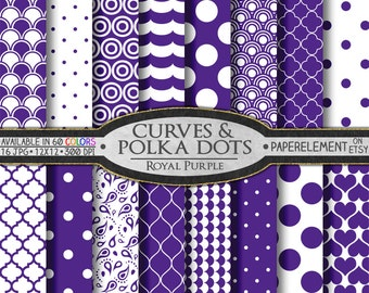 Royal Purple Polka Dot Digital Paper: Purple Geometric Shapes - Digital White and Purple Pattern Scrapbook Background