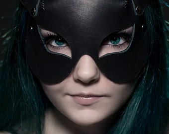 Handmade cat woman leather mask