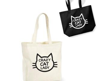 Crazy Cat Lady Tote Bag Funny Cotton Shopping Lightweight Pet Lover Kitten Funny/Secret Santa/Gift