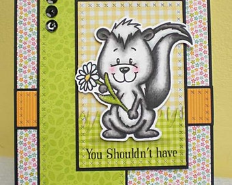 Handmade Greetings card, Skunk with flowers!, Thank you card