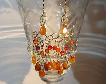 Carnelian Chandelier Earrings, Carnelian and Gold Earrings