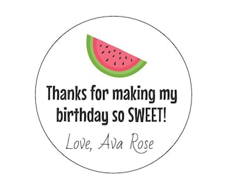 12 Pink Watermelon Stickers, First Birthday, Sweet Birthday Stickers, Summer Birthday, Watermelon Theme, Picnic Theme, Personalized Labels