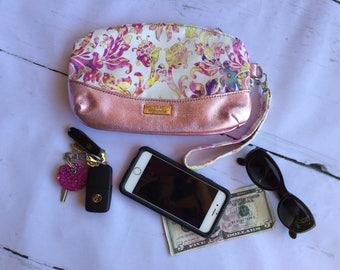 Leather clutch, wristlet, handmade, The Alisa Clutch, pink metallic leather