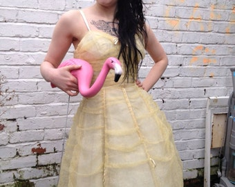 SALE Gorgeous pale yellow original 1950's prom dress