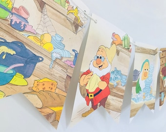 Welcome Back Snow White *B* Story Book Pages Bunting Pennants Nursery Decor Baby Shower Birthday Party Garland Flags