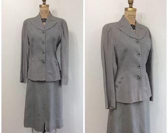 1940s Suit 40s Gray Woven XS Blazer Jacket Skirt Set