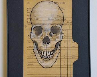 Skull . Drawing . Illustration . Graphite . White Charcoal Pencil . Vintage Library Catalog Card . Original . Fine Art