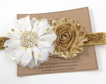 White & Gold Headband Ballerina Flower Headband Glitter Wedding Flower Girl Headband Rhinestone Baby Christening Headband Polka Dot