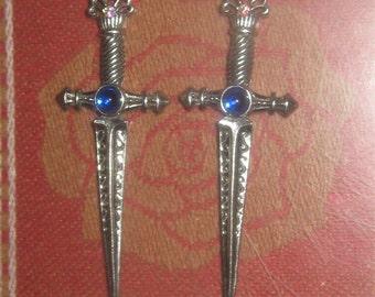 Medieval Pewter And Blue Crystal Sword Earrings