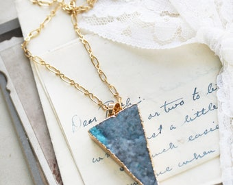 Druzy Triangle Necklace - Druzy Necklace - Layering Boho Necklace - Bridesmaid Druzy Necklace - Best Gift for Girlfriend - Blue Druzy