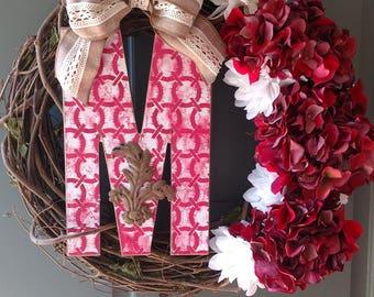 Custom letter M wreath.