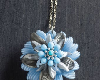 """Light Blue & Silver Vintage Passionflower Bloom Necklace with Stacked Plastic and Metal Flowers on 18"""" Sterling Silver Chain Jewelry Retro"""