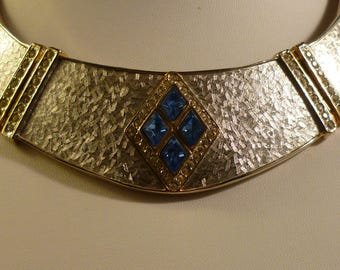 Unique Walk like an Egyptian Silver Tone and Blue Rhinestone Collar Necklace - Runway Piece!