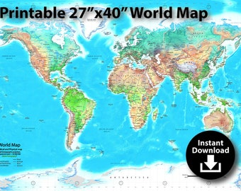 World political map etsy detailed world map download 27x40in print dimensions political and physical gall stereographic projection gumiabroncs Choice Image
