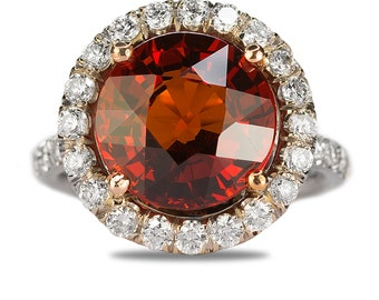 Spessartite Garnet Platinum Ring