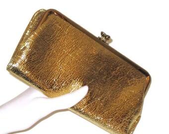 1960s Gold Clutch Wallet Gold Metallic Clutch Wallet 60s Gold Wallet Faux Leather Wallet Faux Gold Leather Metallic Wallet Gold Wallet Purse
