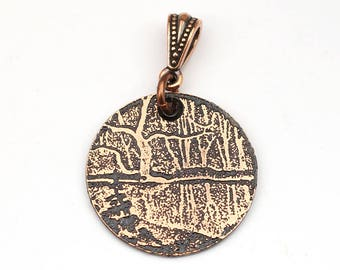 Snowy river pendant, small round flat bookplate jewelry, optional necklace, 25mm