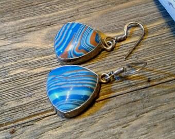 Rainbow Calsilica 925 sterling silver boho hippie organic festival team colors Auburn Tigers Florida Gators Orange and Blue earrings