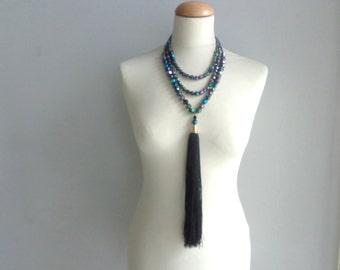 Black silver tassel Statement necklace longer style, multi strand necklace