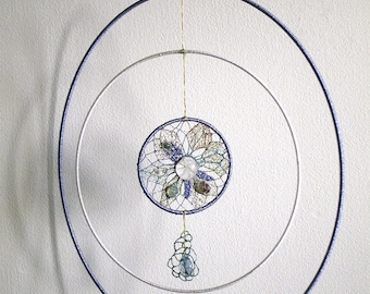 Dream catcher decorated with gems-Feng Shui stones needle lace