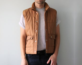 Brown Puffy Vest // 80s S
